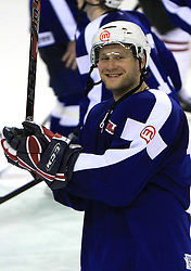 Uros Vidmar at ice-hockey match Slovenia vs Latvia at Preliminary Round (group B) of IIHF WC 2008 in Halifax, on May 06, 2008 in Metro Center, Halifax, Nova Scotia, Canada. Latvia won 3:0. (Photo by Vid Ponikvar / Sportal Images)Slovenia played in old replika jerseys from the year 1966, when Yugoslavia hosted the World Championship in Ljubljana.