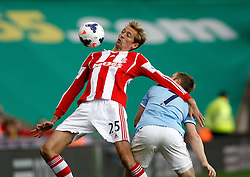 Stoke City's Peter Crouch controls the ball - Photo mandatory by-line: Matt Bunn/JMP - Tel: Mobile: 07966 386802 14/09/2013 - SPORT - FOOTBALL -  Britannia Stadium - Stoke-On-Trent - Stoke City V Manchester City - Barclays Premier League