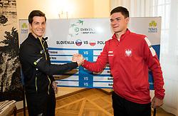 Aljaz Bedene of Slovenia and Kamil Majchrzak of Poland during Official Draw of Davis Cup 2018 tournament between National teams of Slovenia and Poland, on February 2, 2018 in Mestna hisa - Mariborski Rotovz, Maribor, Slovenia. Photo by Rene Gomolj / Sportida
