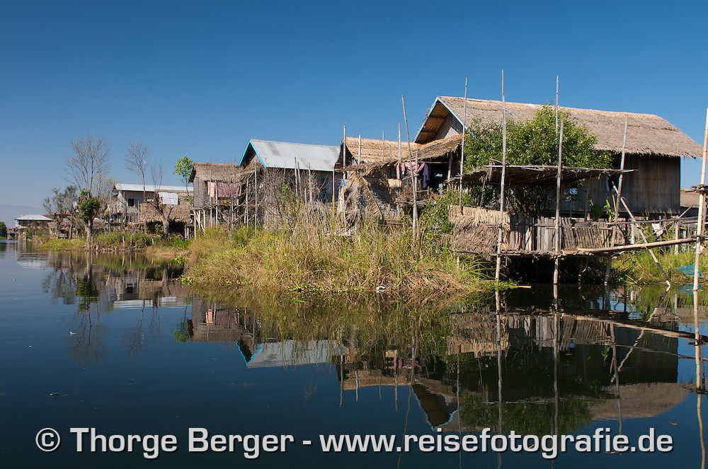 Stilt house village on Inle Lake