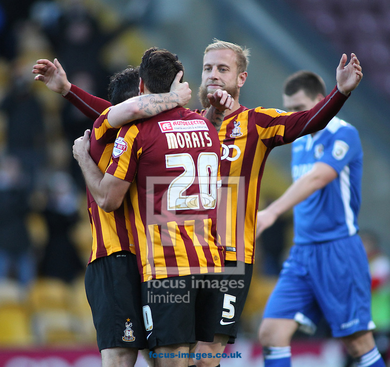 Filipe Morais (C) of Bradford City celebrates scoring the 3rd goal of the game with team mate Andrew Davies (R)  against  Dartford FC during the The FA Cup match at the Coral Windows Stadium, Bradford<br /> Picture by Stephen Gaunt/Focus Images Ltd +447904 833202<br /> 07/12/2014