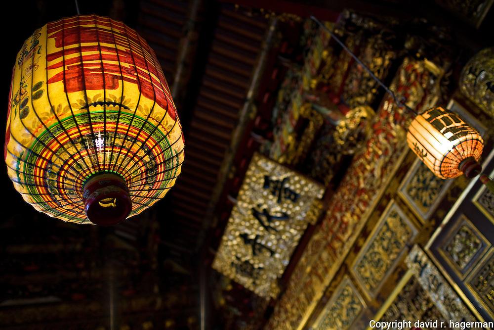 Paper lanterns inside the main temple building of Khoo Kongsi