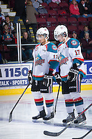 KELOWNA, CANADA - JANUARY 2:  Tyrell Goulbourne #12 and JT Barnett #17 of the Kelowna Rockets line up against the Victoria Royals at the Kelowna Rockets on January 2, 2013 at Prospera Place in Kelowna, British Columbia, Canada (Photo by Marissa Baecker/Shoot the Breeze) *** Local Caption ***