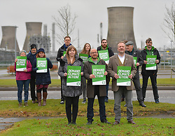 Scottish Green Party co-leader Patrick Harvie joined Linlithgow and East Falkirk candidate Gillian Mackay and Falkirk candidate Tom McLaughlin and demonstrators outside the giant INEOS plant at Grangemouth, which the party claim is Scotland's biggest polluter.<br /> <br /> © Dave Johnston / EEm
