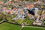 Nederland, Friesland, Gemeente Sudwest-Fryslan (Zuidwest-Friesland), 16-04-2012. Workum met Grote of Sint-Gertrudiskerk. Naast de kerk de Waag. .Small town with monumental church in Frisian countryside..luchtfoto (toeslag), aerial photo (additional fee required);.copyright foto/photo Siebe Swart