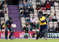 Hampshire's Owais Shah strikes the ball - Photo mandatory by-line: Robbie Stephenson/JMP - Mobile: 07966 386802 - 22/05/2015 - SPORT - Football - Southampton - Ageas Bowl - Hampshire v Kent Spitfires - T20 Blast