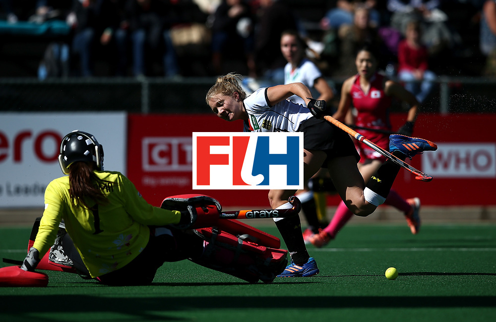JOHANNESBURG, SOUTH AFRICA - JULY 16:  Megumi Kageyama of Japan blocks a shot at goal from Camille Nobis of Germany during day 5 of the FIH Hockey World League Women's Semi Finals Pool A match between Japan and Germany at Wits University on July 16, 2017 in Johannesburg, South Africa.  (Photo by Jan Kruger/Getty Images for FIH)
