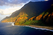 Aerial image of the Na Pali Cliffs in Kauai, Hawaii, Hawaiian Islands, America West.