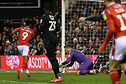 Charlton Athletic goalkeeper Dillion Phillips makes a save during the EFL Sky Bet Championship match between Nottingham Forest and Charlton Athletic at the City Ground, Nottingham, England on 11 February 2020.