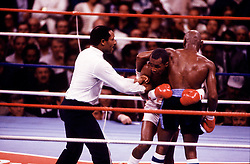 """6 Apr 1987:  Sugar Ray Leonard, left, battles """"Marvelous"""" Marvin Hagler, right, during a middleweight bout at Caesars Palace in Las Vegas, NV. Leonard won the fight in a 12 round decision.."""