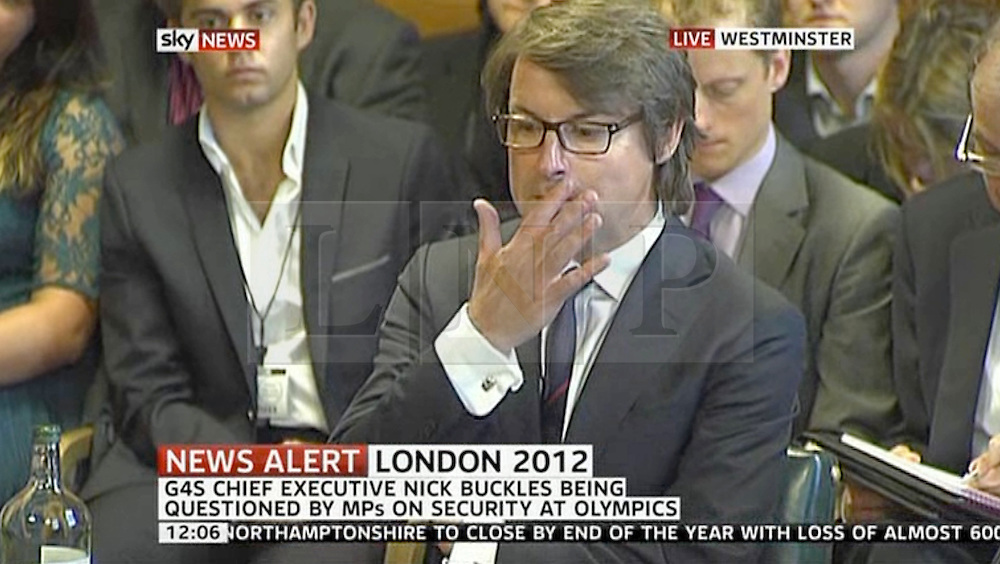 © Licensed to London News Pictures. 17/07/2012. London, UK. Nick Buckles CEO of G4S giving evidence before MPs on the Home Affairs Select Committee about G4S's failure to provide sufficient security guards for the Olympic Games.  Photo credit : LNP
