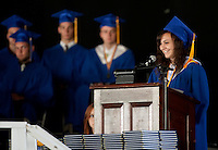 Gilford High School Valedictorian Alexandra Remick addresses her fellow students and guests during the 2012 Commencement Exercises at Meadowbrook Pavilion Saturday morning.  (Karen Bobotas/for the Laconia Daily Sun)