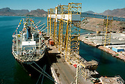 MEXICO, AGRICULTURE Unloading grain sorghum from U. S. at Guaymas harbor