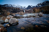 SCOTLAND - CIRCA APRIL 2016: The Fairy Pools Waterfalls in  a popular tourist attraction in Glenbrittle,  Skye an Island in Scotland
