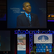 President Barack Obama spoke during the National League of Cities Congressional City Conference, at the Marriott Wardman Park Hotel, on Monday, March 9, 2015.  During the speech he unveiled his new Tech Hire Initiative which aims to provide training and jobs for Americans looking to find work in the high tech industry.  John Boal Photography