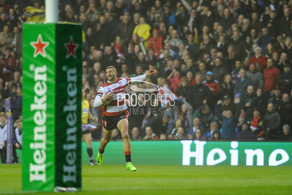 Jonny May walks home first try during the European Rugby Challenge Cup match between Gloucester Rugby and Stade Francais at BT Murrayfield, Edinburgh, Scotland on 12 May 2017. Photo by Kevin Murray.