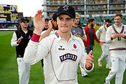 Tom Abell, captain of Somerset on a lap of honour after beating Middlesex to secure survival in Division 1 of the Specsavers County Champ Div 1 match between Somerset County Cricket Club and Middlesex County Cricket Club at the Cooper Associates County Ground, Taunton, United Kingdom on 28 September 2017. Photo by Graham Hunt.