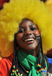JOHANNESBURG, SOUTH AFRICA - Friday, June 11, 2010: A South Africa supporter during the opening Group A match against Mexico during the 2010 FIFA World Cup South Africa at the Soccer City Stadium. (Pic by Hoch Zwei/Propaganda)
