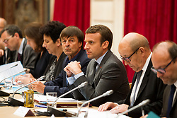 French President Emmanuel Macron, French Minister of Ecological and Social Transition Nicolas Hulot, Minister of Europe and Foreign Affairs Jean-Yves Le Drian and Minister of Higher Education, Research and Innovation Frederique Vidal attend a meeting about climate change at the Elysee Palace in Paris, France, on June 06, 2017. Photo by Lewis Joly/Pool/ABACAPRESS.COM