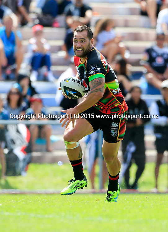 Warrior's Bodene Thompson. NRL trial match, Vodafone Warriors vs Penrith Panthers, International Stadium, Rotorua, New Zealand. Saturday, 14 February, 2015. Photo: John Cowpland / www.photosport.co.nz