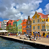 Rainbow of Colorful Buildings in Punda, Eastside of Willemstad, Cura&ccedil;ao <br />