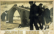 Journee Serbe, 25 June 1916, anniversary of Battle of Kossovo. Serbs crossing River Drina into Albania. World War I French poster.  Conquered by Austro-Hungary, Germany and Bulgaria, Serbia suffered military and civilian casualties.