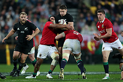 New Zealand's Beauden Barrett is tackled by British and Irish Lions' Mako Vunipola (left) and Alun Wyn Jones during the second test of the 2017 British and Irish Lions tour at Westpac Stadium, Wellington.