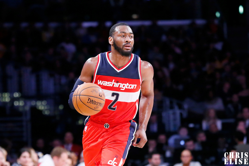 27 January 2015: Washington Wizards guard John Wall (2) brings the ball up court during the Washington Wizards 98-92 victory over the Los Angeles Lakers, at the Staples Center, Los Angeles, California, USA.