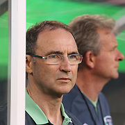 Martin O'Neill the Ireland Manager in the dugout during the Portugal V Ireland International Friendly match in preparation for the 2014 FIFA World Cup in Brazil. MetLife Stadium, Rutherford, New Jersey, USA. 10th June 2014. Photo Tim Clayton