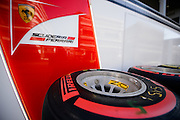 October 8, 2015: Russian GP 2015: Pirelli tire outside Ferrari garage