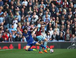 Shinji Okazaki of Leicester City (L) and Stephen Ward of Burnley in action - Mandatory by-line: Jack Phillips/JMP - 14/04/2018 - FOOTBALL - Turf Moor - Burnley, England - Burnley v Leicester City - English Premier League