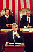 US President Bill Clinton during his State of the Union Address to Congress January 19, 1999 in Washington, DC. Clinton is addressing congress following the opening of his defense of the impeachment charges for lying about the affair with intern Monica Lewinsky.