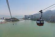 Ngong Ping cable car to Lantau Island, Hong Kong, China.