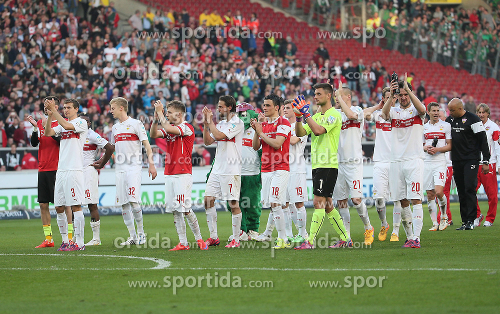 12.04.2015, Mercedes Benz Arena, Stuttgart, GER, 1. FBL, VfB Stuttgart vs SV Werder Bremen, 28. Runde, im Bild Freude beim VfB Stuttgart nach dem Sieg // during the German Bundesliga 28th round match between VfB Stuttgart and SV Werder Bremen at the Mercedes Benz Arena in Stuttgart, Germany on 2015/04/12. EXPA Pictures &copy; 2015, PhotoCredit: EXPA/ Eibner-Pressefoto/ Fudisch<br /> <br /> *****ATTENTION - OUT of GER*****