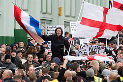 © under license to London News Pictures. 05/02/2011. Thousands of English Defence League members and supporters march through Luton Town Centre to demonstrate against Sharia Law. 2000 police are in the town to keep the peace. Joel Goodman/London News Pictures
