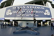 IRVING, TX - OCTOBER 23:  The Dallas Cowboys star accompanies a statue dedicated to former head coach Tom Landry outside the stadium prior to the game against the New York Giants at Texas Stadium on October 23, 2006 in Irving, Texas. The Giants defeated the Cowboys 36-22. ©Paul Anthony Spinelli *** Local Caption *** Tom Landry