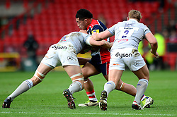 Anthony Perenise of Bristol Rugby is tackled by Charlie Ewels (co-capt) of Bath Rugby - Mandatory by-line: Dougie Allward/JMP - 26/02/2017 - RUGBY - Ashton Gate - Bristol, England - Bristol Rugby v Bath Rugby - Aviva Premiership