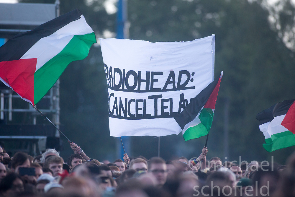 Protest about Radiohead playing in Israel.  Radiohead headline the Main stage on Friday at TRNSMT music festival, Glasgow Green.