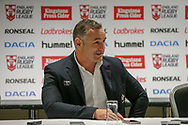Coach Aurellien Cologni of France during a post match press conference at Leigh Sports Village, Leigh<br /> Picture by Steve McCormick/Focus Images Ltd 07545 862647<br /> 17/10/2018