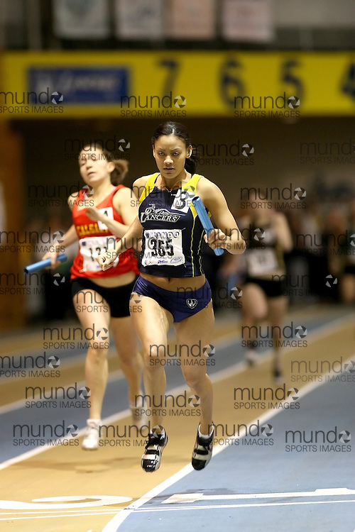Windsor, Ontario ---14/03/09--- Danielle Harrison of  the University of Windsor Lancers competes in the 4x200m Relay Final at the CIS track and field championships in Windsor, Ontario, March 14, 2009..Sean Burges Mundo Sport Images