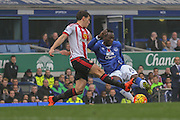 Everton forward Romelu Lukaku  with a shot  during the Barclays Premier League match between Everton and Sunderland at Goodison Park, Liverpool, England on 1 November 2015. Photo by Simon Davies.