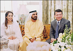 File photo - Dubai's Crown Prince Sheikh Mohammed Bin Rashed Al Maktoum marries Princess Haya of Jordan in Amman on 10th April 2004 in a small ceremony at Beit Al-Baraka, the house of King Abdallah II and Queen Rania. The younger wife of the ruler of Dubai, the billionaire race horse owner Sheikh Mohammed bin Rashid al-Maktoum, is believed to be staying in a town house near Kensington Palace after fleeing her marriage. Princess Haya bint al-Hussein, 45, has not been seen in public for weeks. One half of one of the sporting world's most celebrated couples, she failed to appear at Royal Ascot last month with her husband. Photo by Balkis Press/ABACAPRESS.COM