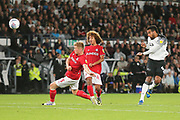 Derby County midfielder Tom Huddlestone (44) shoots at goal during the EFL Sky Bet Championship match between Derby County and Bristol City at the Pride Park, Derby, England on 20 August 2019.