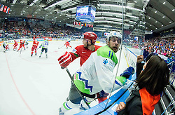 Anze Kopitar of Slovenia and his fan during Ice Hockey match between Belarus and Slovenia at Day 2 in Group B of 2015 IIHF World Championship, on May 2, 2015 in CEZ Arena, Ostrava, Czech Republic. Photo by Vid Ponikvar / Sportida