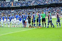 Real Madrid´s players greet Eibar´s players during 2014-15 La Liga match between Real Madrid and Eibar at Santiago Bernabeu stadium in Madrid, Spain. April 11, 2015. (ALTERPHOTOS/Luis Fernandez)
