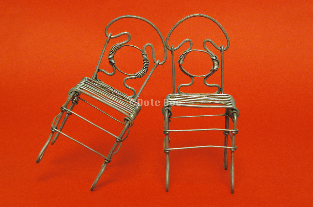 still life of metal chairs