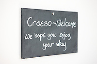 Croeso - Welcome sign on slate<br /> Cross Foxes<br /> Bar Grill Rooms<br /> Near Dolgellau<br /> Gwynedd<br /> Mid<br /> Hotels<br /> Accommodation