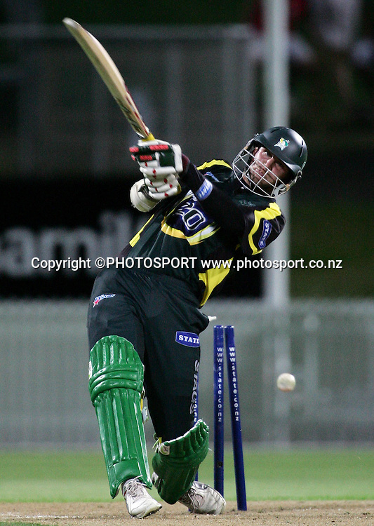 CD batsman Ewen Thompson is bowled out for 27 runs during the State Twenty20 cricket match between the Northern Knights and Central Stags at Seddon Park, Hamilton, on Saturday 13 January 2007. The Knights won the match by 2 runs. Photo: Renee McKay/PHOTOSPORT<br /><br /><br />130107