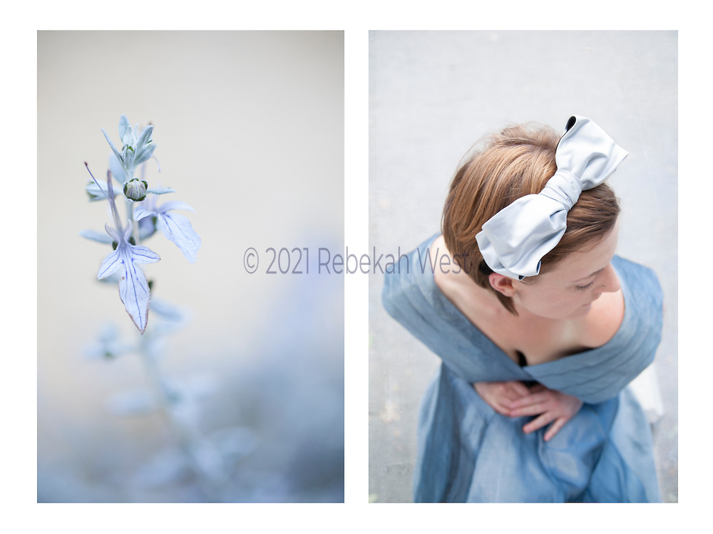 """Caption: """"Bleu"""" Genus: Wonder.  Diptych photographic art by Rebekah West. Description: Horizontal pairing of images: pale blue stem of flowers and red-headed woman with white bow and pale blue dress, hands folded looking away."""