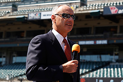 SAN FRANCISCO, CA - JUNE 25:  Commissioner of Major League Baseball Rob Manfred speaks before the game between the San Francisco Giants and the San Diego Padres at AT&T Park on June 25, 2015 in San Francisco, California.  The San Francisco Giants defeated the San Diego Padres 13-8. (Photo by Jason O. Watson/Getty Images) *** Local Caption *** Rob Manfred